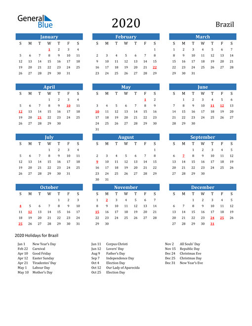Image of 2020 Calendar - Brazil with Holidays