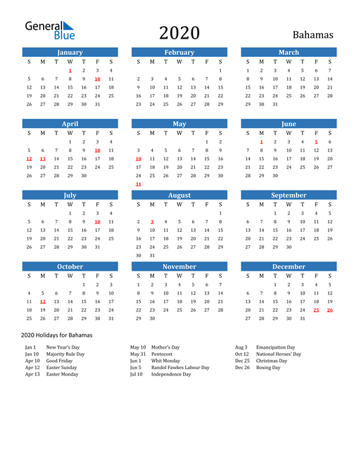 Image of 2020 Calendar - Bahamas with Holidays