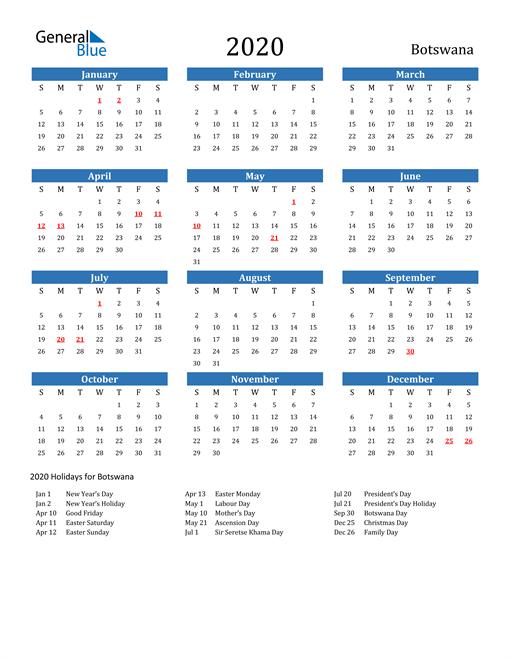 Image of 2020 Calendar - Botswana with Holidays