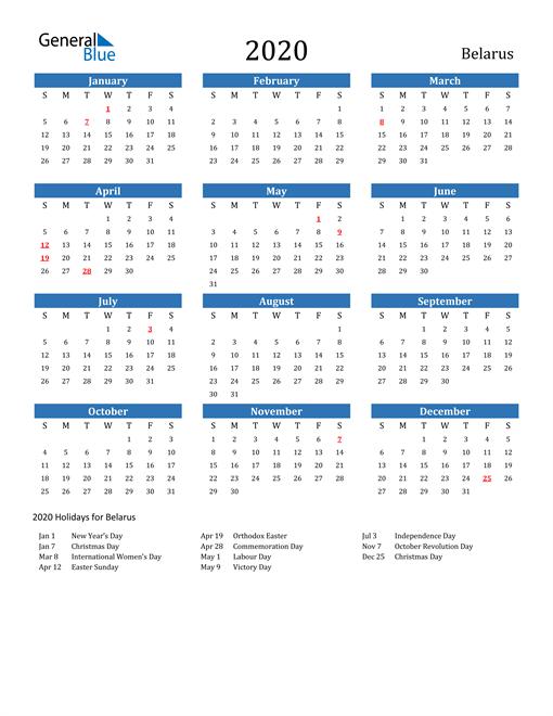 Image of 2020 Calendar - Belarus with Holidays