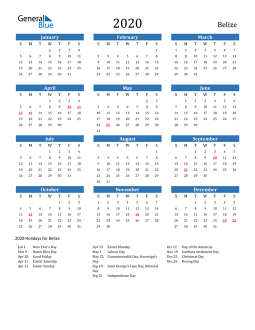 Image of 2020 Calendar - Belize with Holidays
