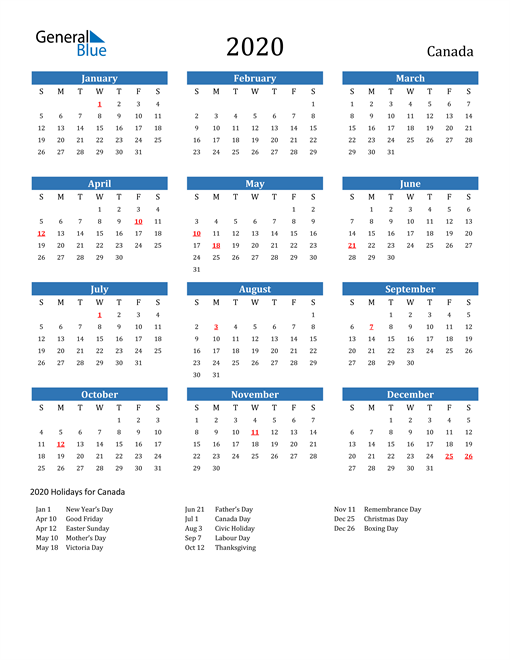 Image of 2020 Calendar - Canada with Holidays