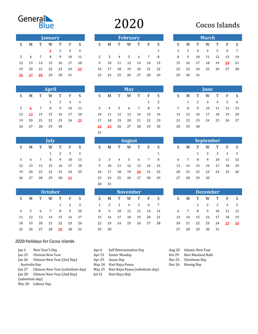 Image of 2020 Calendar - Cocos Islands with Holidays