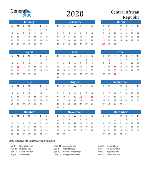 Image of 2020 Calendar - Central African Republic with Holidays