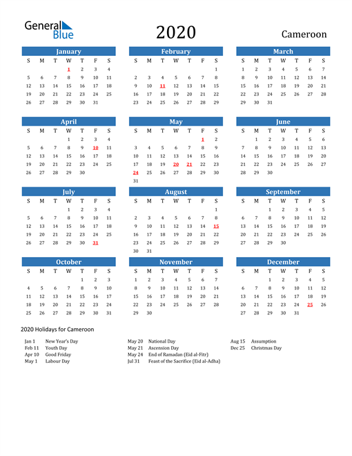 Image of 2020 Calendar - Cameroon with Holidays