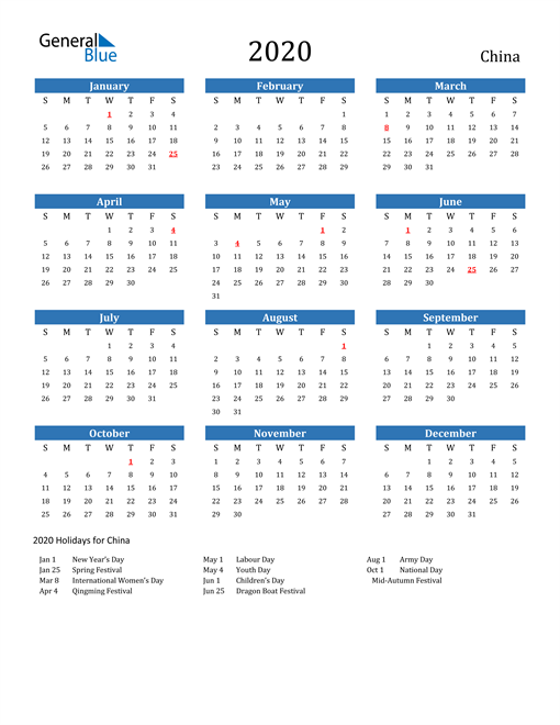 Image of 2020 Calendar - China with Holidays