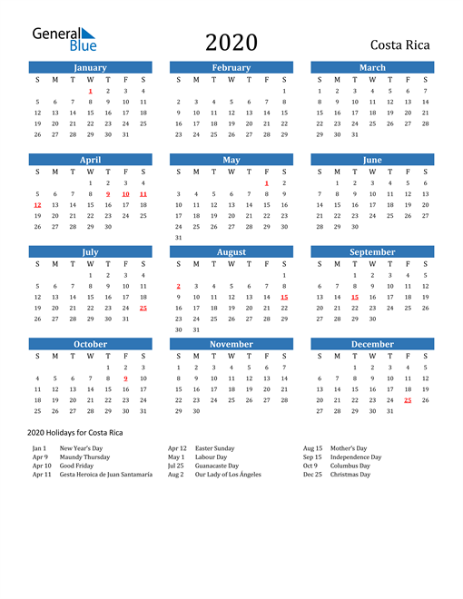 Image of 2020 Calendar - Costa Rica with Holidays