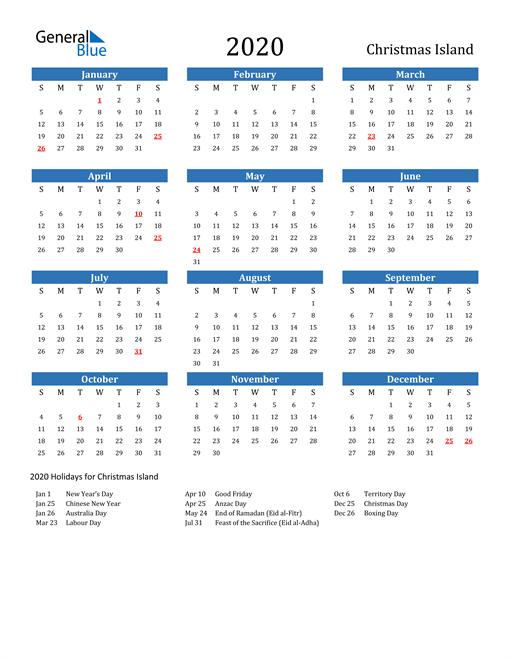 Image of 2020 Calendar - Christmas Island with Holidays