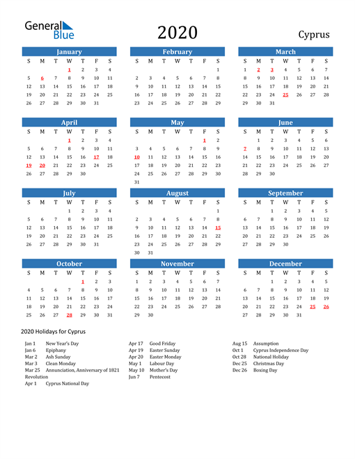 Image of 2020 Calendar - Cyprus with Holidays