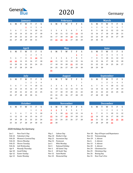 Image of 2020 Calendar - Germany with Holidays