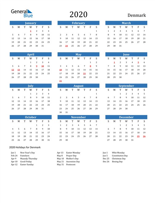 Image of 2020 Calendar - Denmark with Holidays