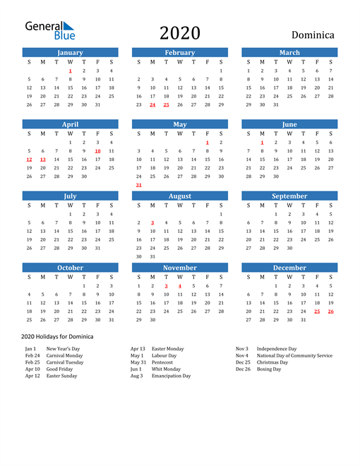 Image of 2020 Calendar - Dominica with Holidays