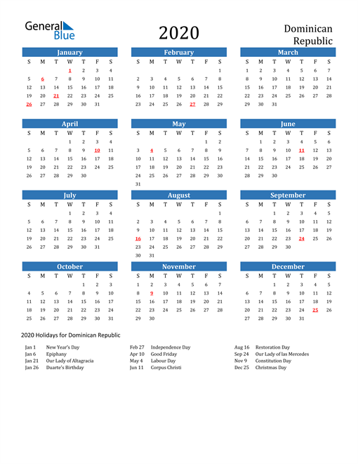 Image of 2020 Calendar - Dominican Republic with Holidays