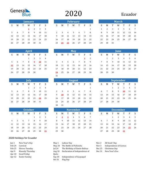 Image of 2020 Calendar - Ecuador with Holidays