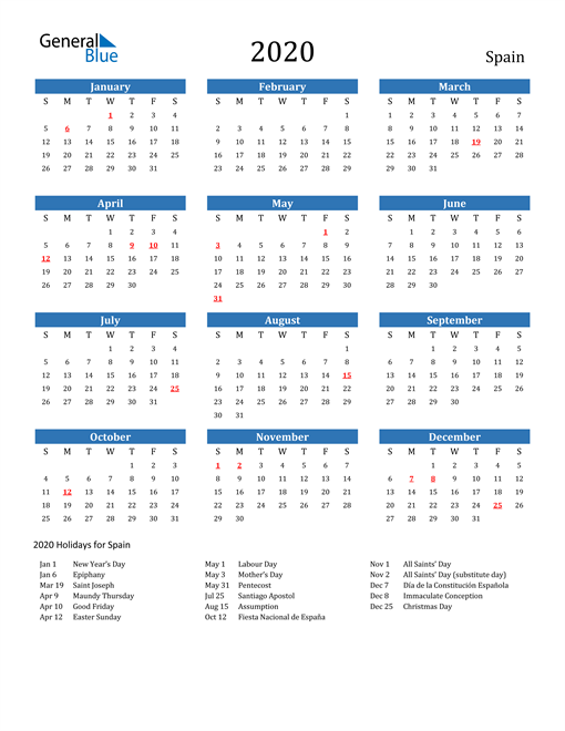 Image of 2020 Calendar - Spain with Holidays