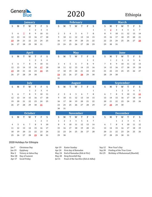 Image of Ethiopia 2020 Calendar with Holidays