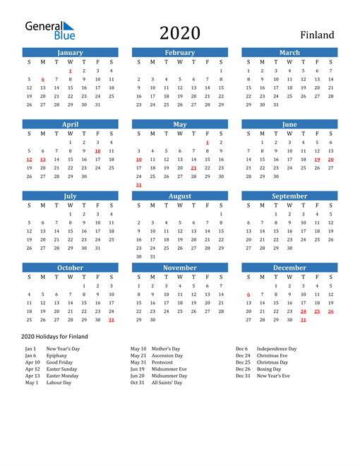Image of Finland 2020 Calendar with Holidays