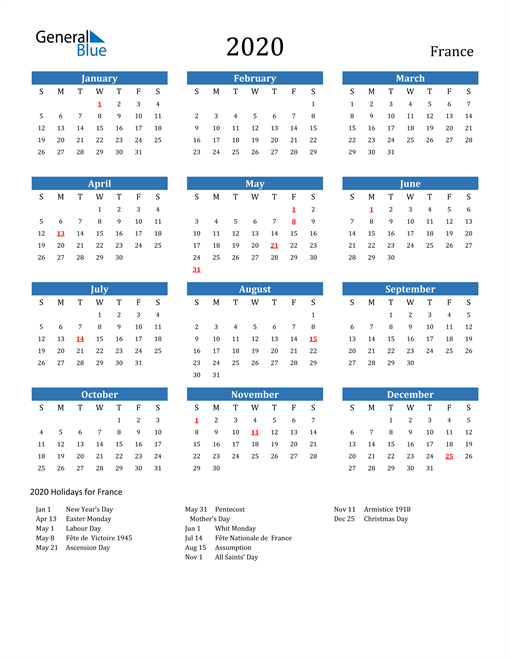 Image of 2020 Calendar - France with Holidays