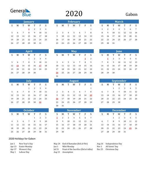 Image of Gabon 2020 Calendar with Holidays