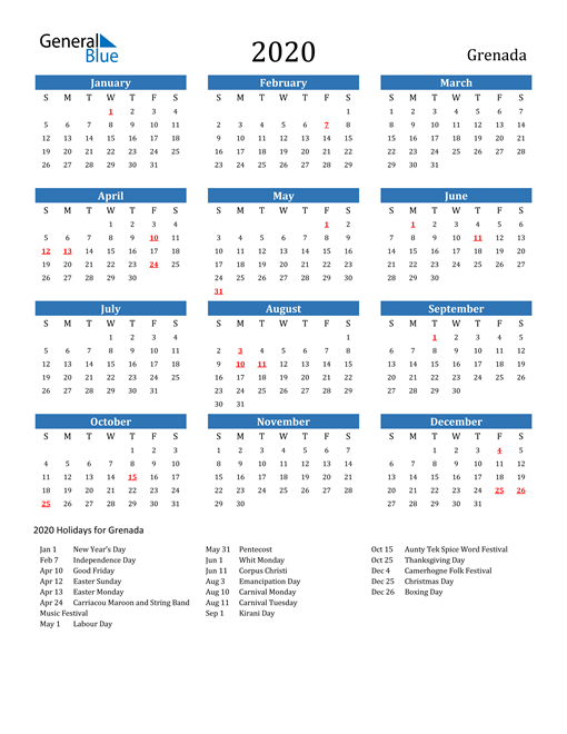 Image of 2020 Calendar - Grenada with Holidays