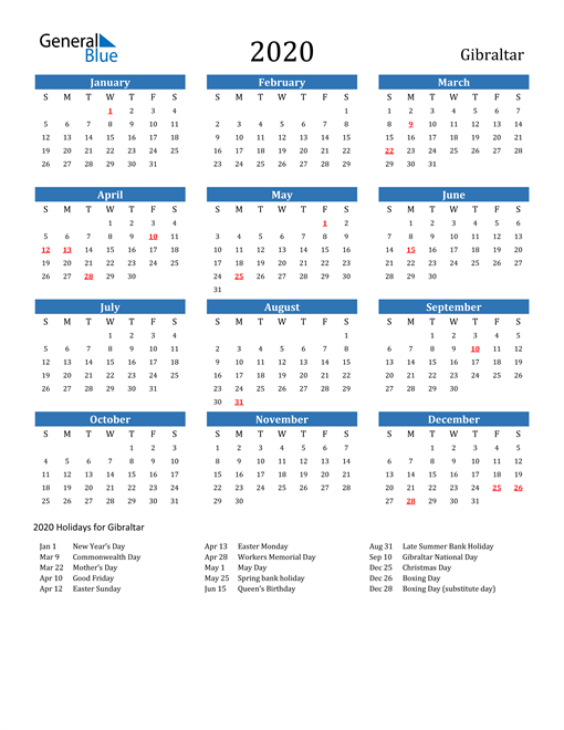 Image of 2020 Calendar - Gibraltar with Holidays