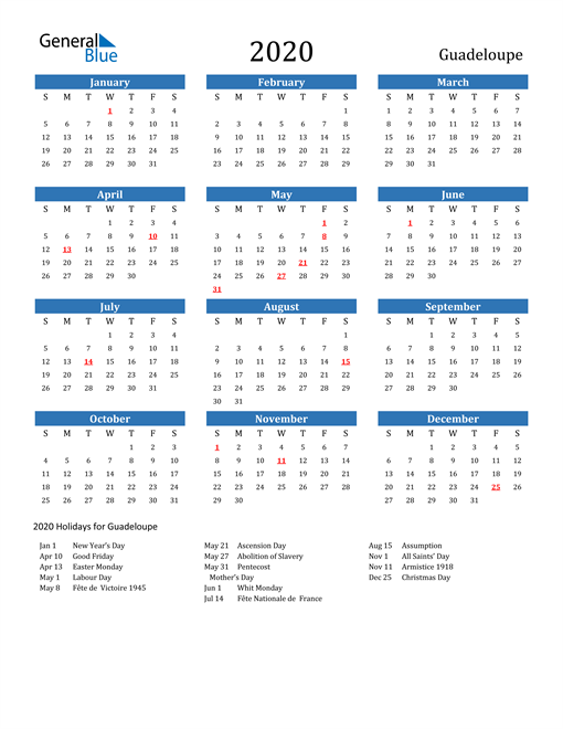 Image of 2020 Calendar - Guadeloupe with Holidays