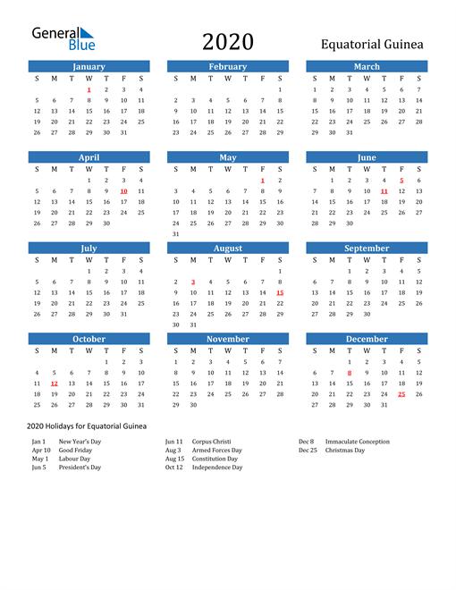 Image of 2020 Calendar - Equatorial Guinea with Holidays