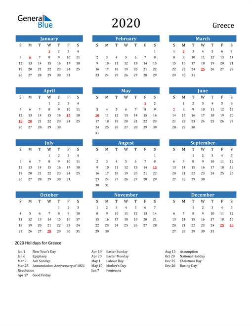 Image of 2020 Calendar - Greece with Holidays