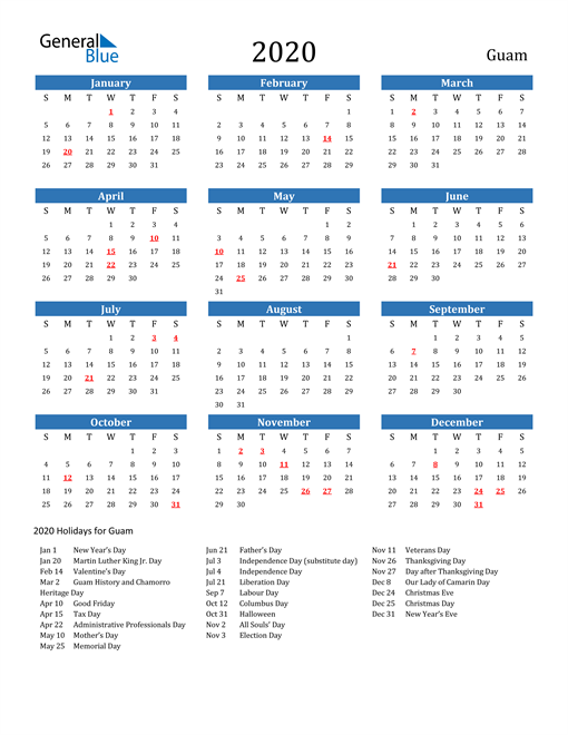 Image of 2020 Calendar - Guam with Holidays