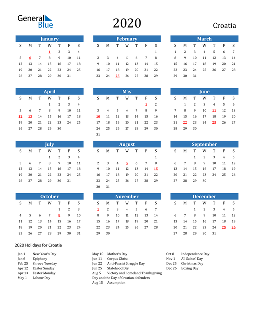 Image of 2020 Calendar - Croatia with Holidays