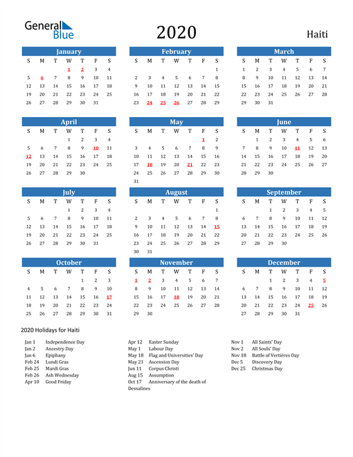 Image of 2020 Calendar - Haiti with Holidays