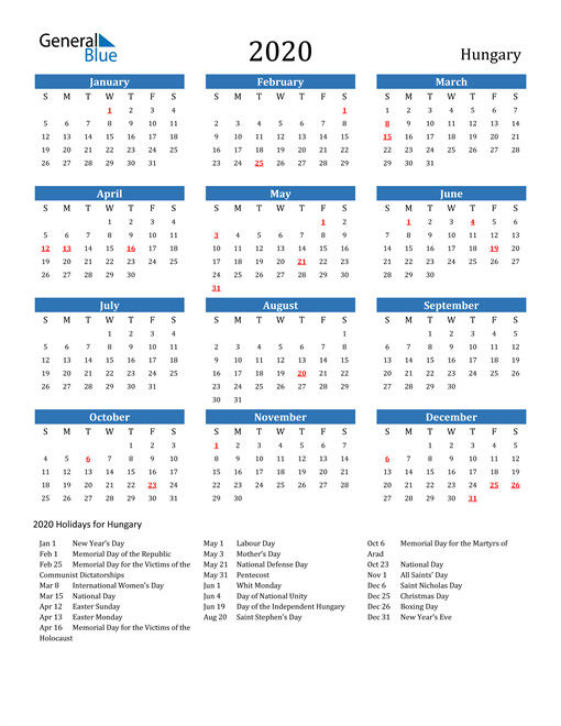 Image of 2020 Calendar - Hungary with Holidays