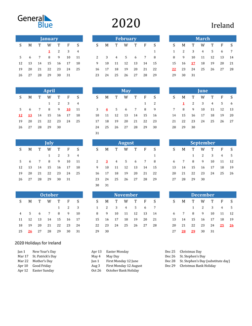 Image of 2020 Calendar - Ireland with Holidays