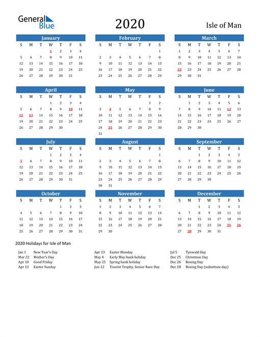 Image of 2020 Calendar - Isle of Man with Holidays