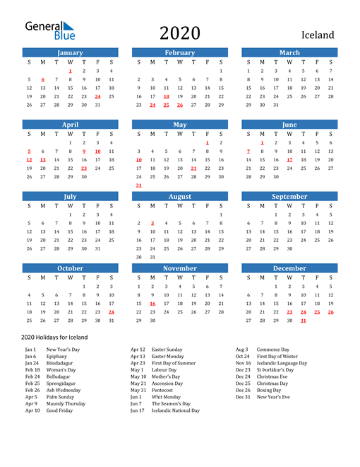 Image of 2020 Calendar - Iceland with Holidays