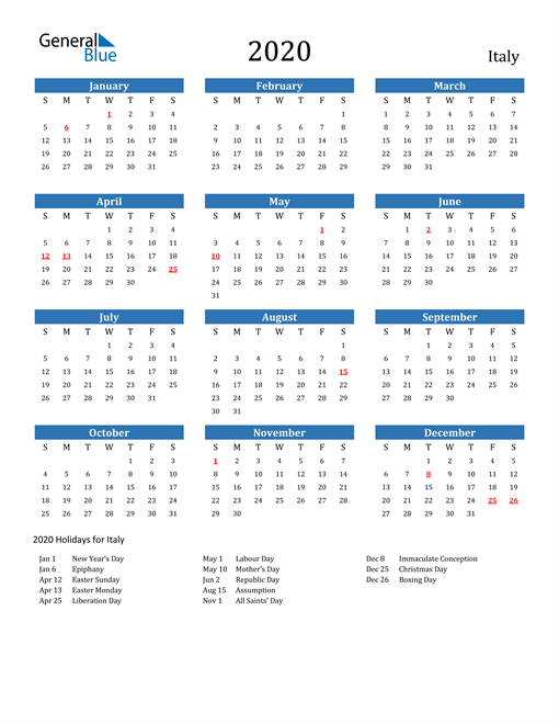 Image of 2020 Calendar - Italy with Holidays