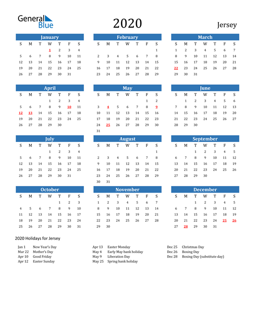 Jersey 2020 Calendar with Holidays