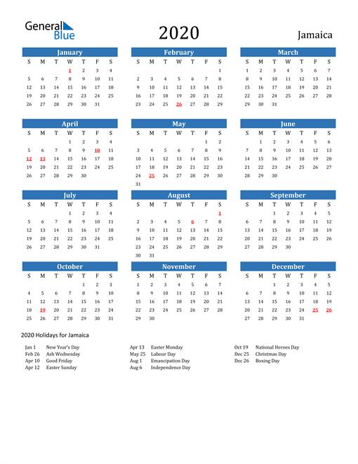 Image of 2020 Calendar - Jamaica with Holidays
