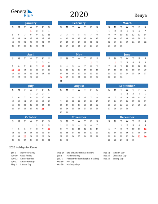 Image of 2020 Calendar - Kenya with Holidays