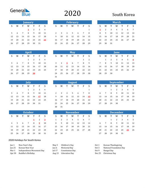 Image of 2020 Calendar - South Korea with Holidays