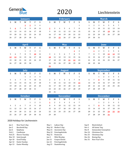 Image of 2020 Calendar - Liechtenstein with Holidays