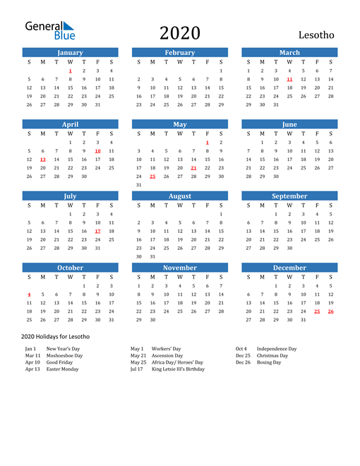 Image of 2020 Calendar - Lesotho with Holidays