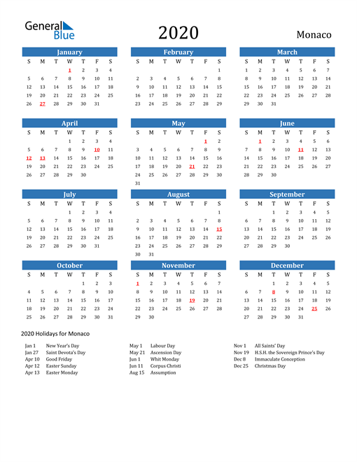 Image of 2020 Calendar - Monaco with Holidays