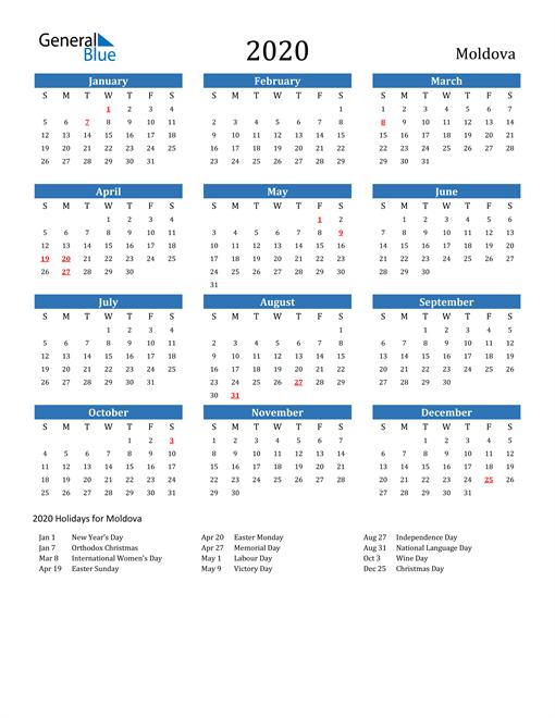 Image of 2020 Calendar - Moldova with Holidays
