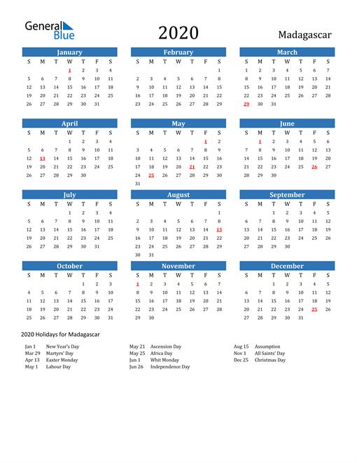 Image of 2020 Calendar - Madagascar with Holidays