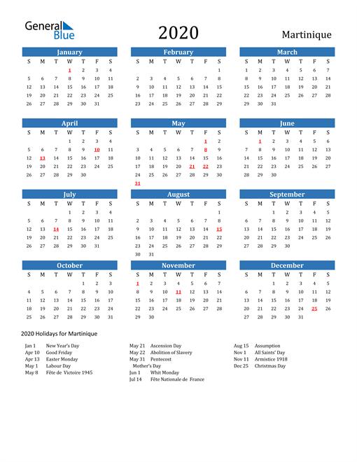Martinique 2020 Calendar with Holidays