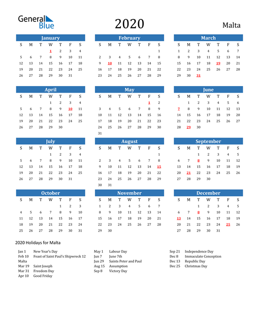 Image of 2020 Calendar - Malta with Holidays