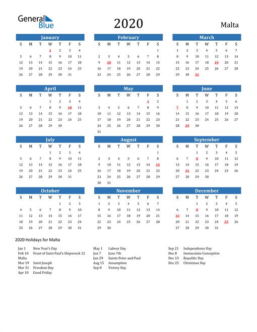 Image of Malta 2020 Calendar with Holidays