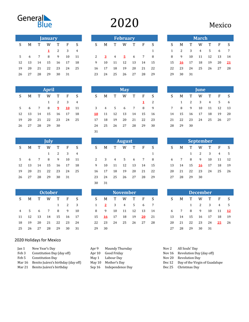 Image of 2020 Calendar - Mexico with Holidays
