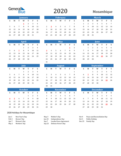 Image of Mozambique 2020 Calendar with Holidays